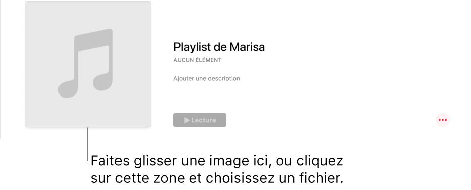 Une playlist avec une illustration personnalisée, qui peut être modifiée à tout moment. Faites glisser une image sur la zone d'illustration pour la personnaliser.