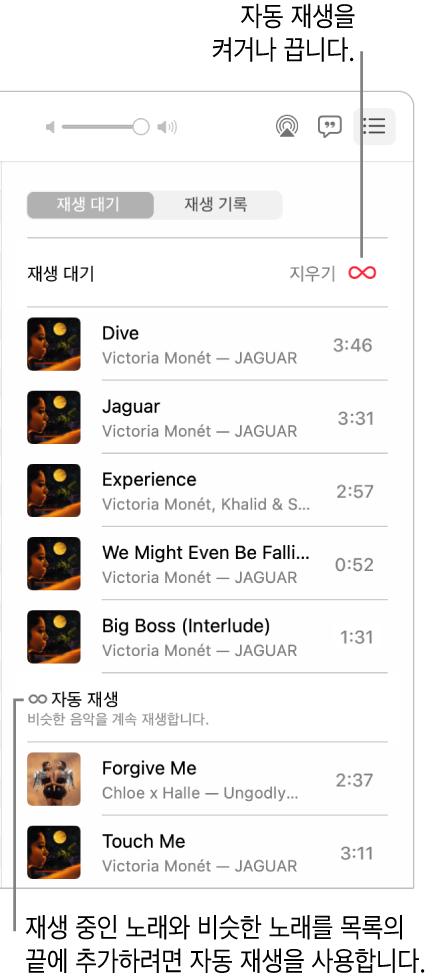 재생 대기 목록. 자동 재생 버튼을 클릭하여 켜거나 끔. 자동 재생이 켜져 있는 경우 비슷한 노래가 목록의 끝에 추가됨.