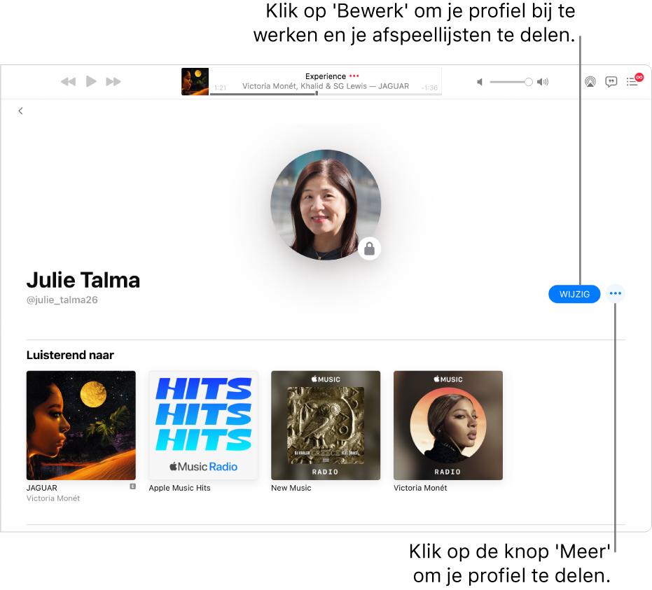 De profielpagina in AppleMusic: Klik rechts in het venster op 'Bewerk' om aan te geven wie je kan volgen. Klik rechts naast 'Bewerk' op de knop 'Meer' als je je muziek wilt delen.
