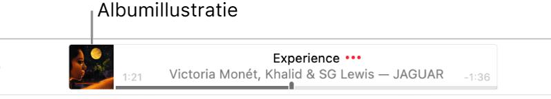 De albumillustratie links van een banner waarin een nummer wordt afgespeeld.