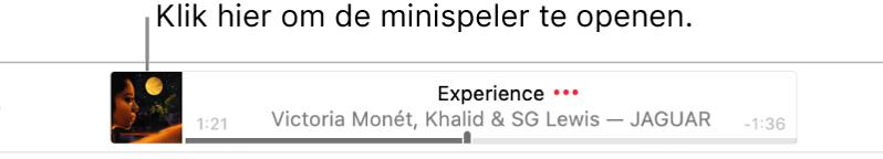 Klik op de albumillustratie links van het banner om de minispeler te openen.