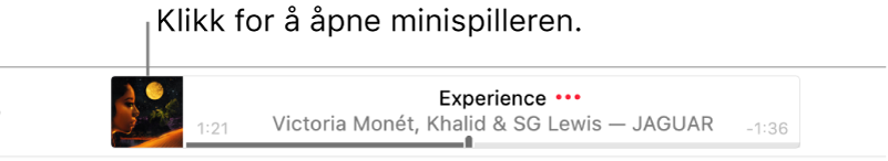 Klikk på albumbildet til venstre for banneret for å åpne minispilleren.