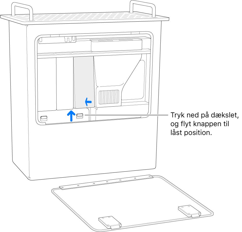 Mac Pro på højkant med en illustration af, hvordan DIMM-kontakten flyttes til låst position.