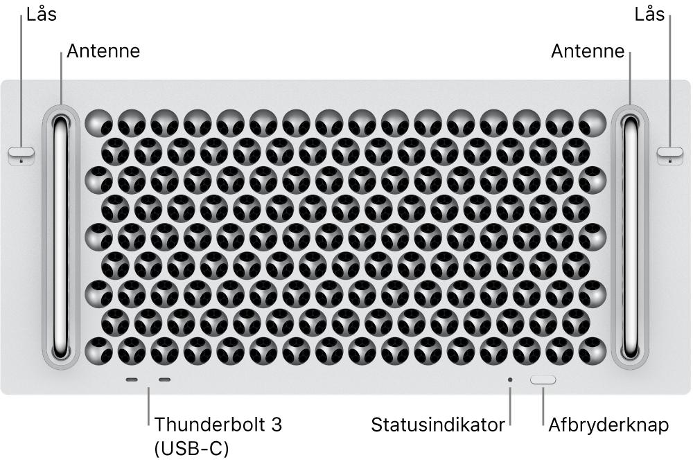 Mac Pro set forfra med to Thunderbolt 3 (USB-C)-porte, en systemindikator, afbryderknapknap og antenne.