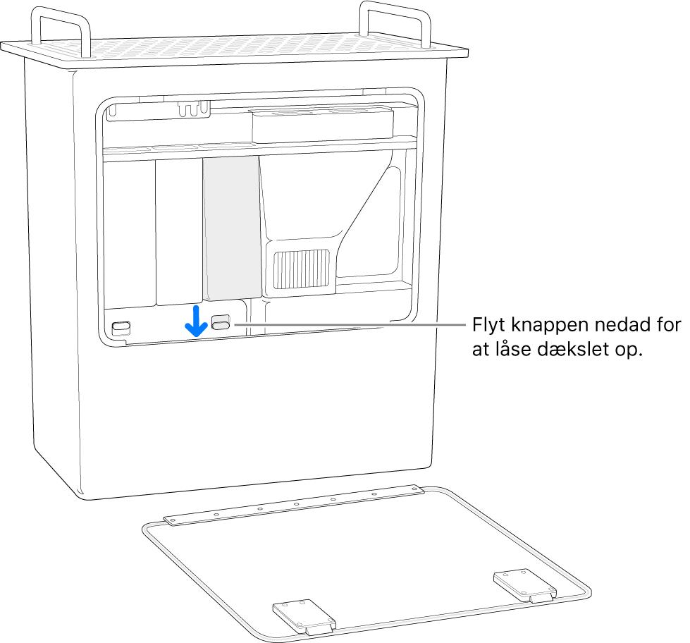 Mac Pro på højkant med markering af den kontakt, der bruges til at låse DIMM-dækslet op.