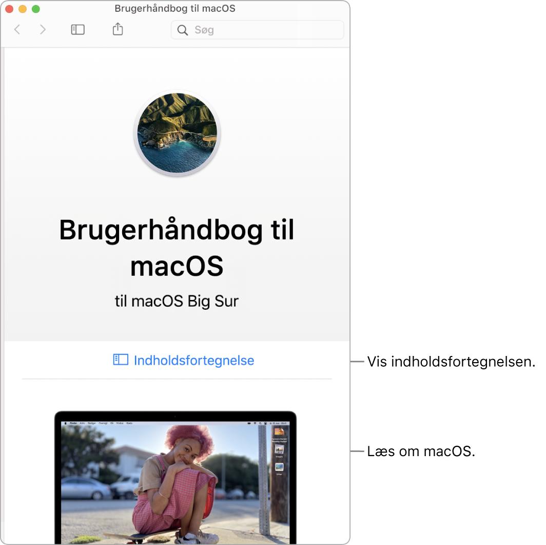 Velkomstsiden i Brugerhåndbog til macOS, der viser linket Indholdsfortegnelse.