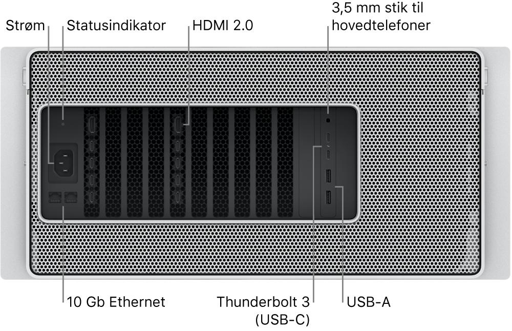 Mac Pro set bagfra med porten til strømforsyning, en statusindikator, to HDMI 2.0-porte, 3.5 mm stik til hovedtelefoner, to 10 Gigabit Ethernet-porte, to Thunderbolt3 (USB-C)-porte og to USB-A-porte.
