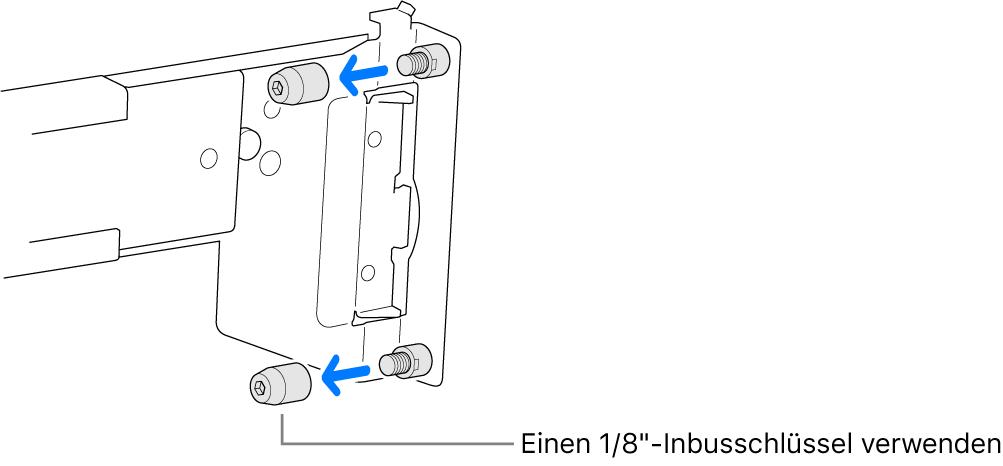 Eine Montageschiene, die in ein Rack mit runden Löchern passt.