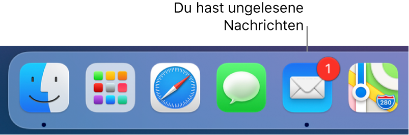 """Abschnitt im Dock mit dem App-Symbol """"Mail"""", das mit einem Kennzeichen versehen ist, um auf ungelesene Mails hinzuweisen."""