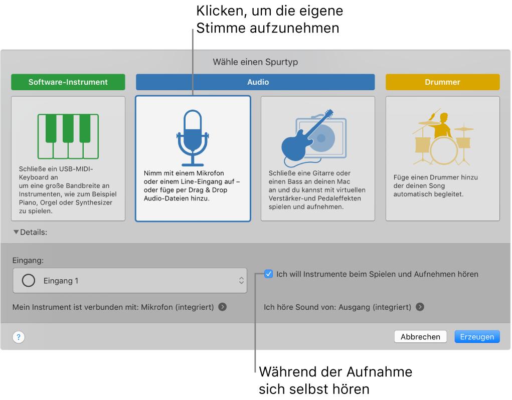 GarageBand-Instrumentbereich mit Taste zur Stimmaufzeichnung und Wiedergabe während der Aufnahme