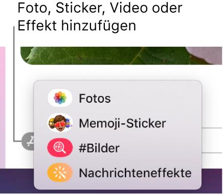 """Das Menü """"Apps"""" mit Optionen um Anzeigen von Fotos, Memoji-Stickern, GIFs und Nachrichteneffekten."""