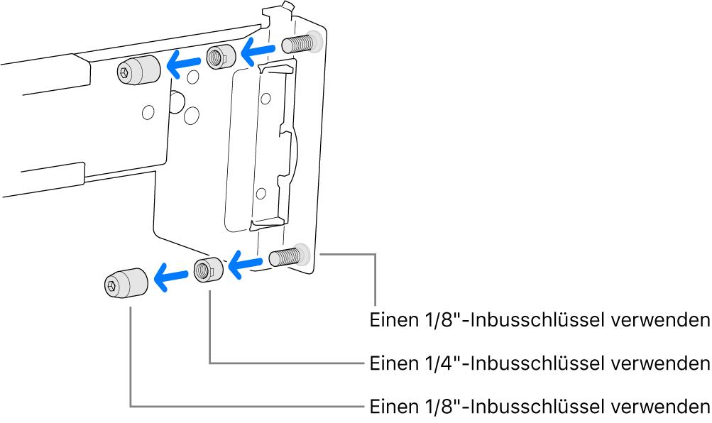 Eine Montageschiene, die in ein Rack mit Gewindelöchern passt.