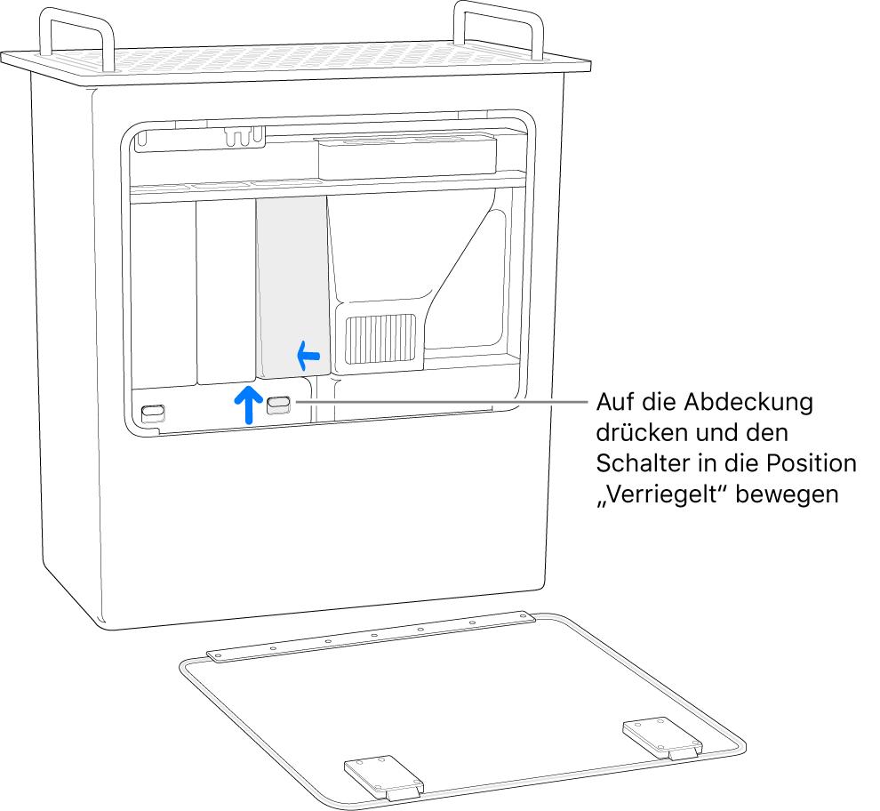 Der Mac Pro steht hochkant und es wird gezeigt, wie der DIMM-Schalter verriegelt wird.