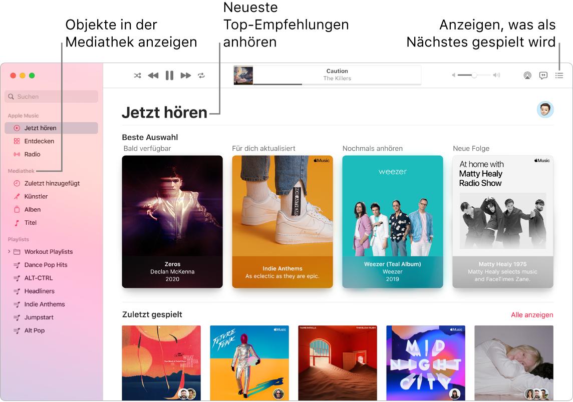 """Ein Fenster der App """"Musik"""" mit Informationen zum Anzeigen deiner Mediathek, Anhören von Apple Music und Anzeigen des nächsten Titels"""
