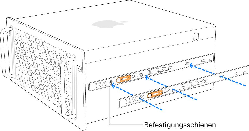 Mac Pro, an dessen Seite eine inneren Schiene montiert ist.