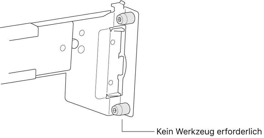 Eine Montageschiene, die in ein Rack mit Vierkantlöchern passt.