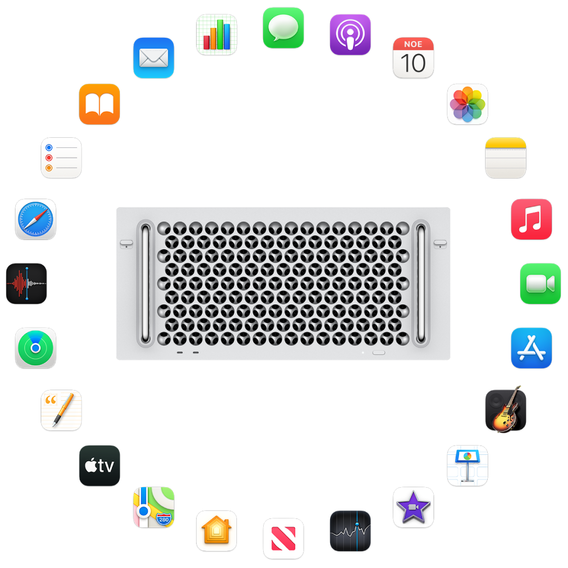 Ένα Mac Pro το οποίο περιβάλλεται από τα εικονίδια των ενσωματωμένων εφαρμογών που περιγράφονται στις επόμενες ενότητες.