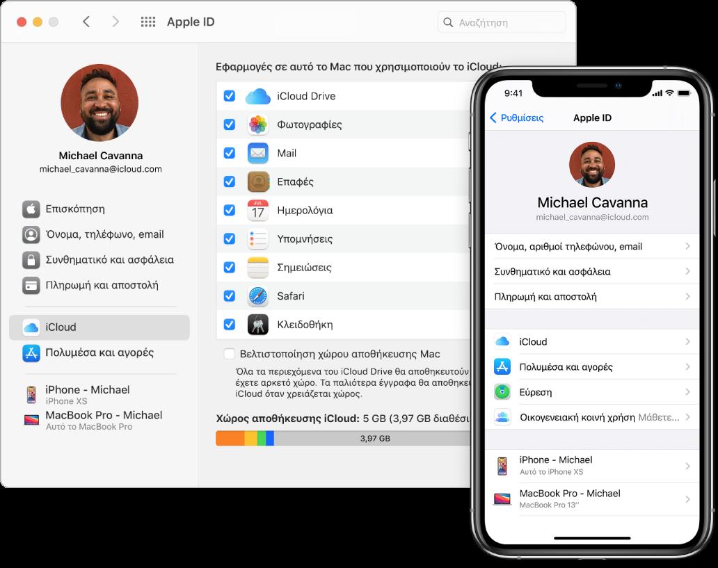 Οι ρυθμίσεις iCloud σε iPhone και το παράθυρο iCloud σε Mac.
