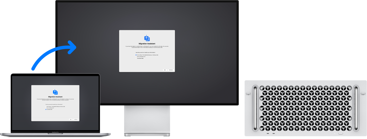 A MacBook displaying the Migration Assistant screen, connected to a Mac Pro that also has the Migration Assistant screen open.