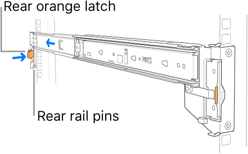 A rail assembly illustrating the location of the rear rail pins and latch.
