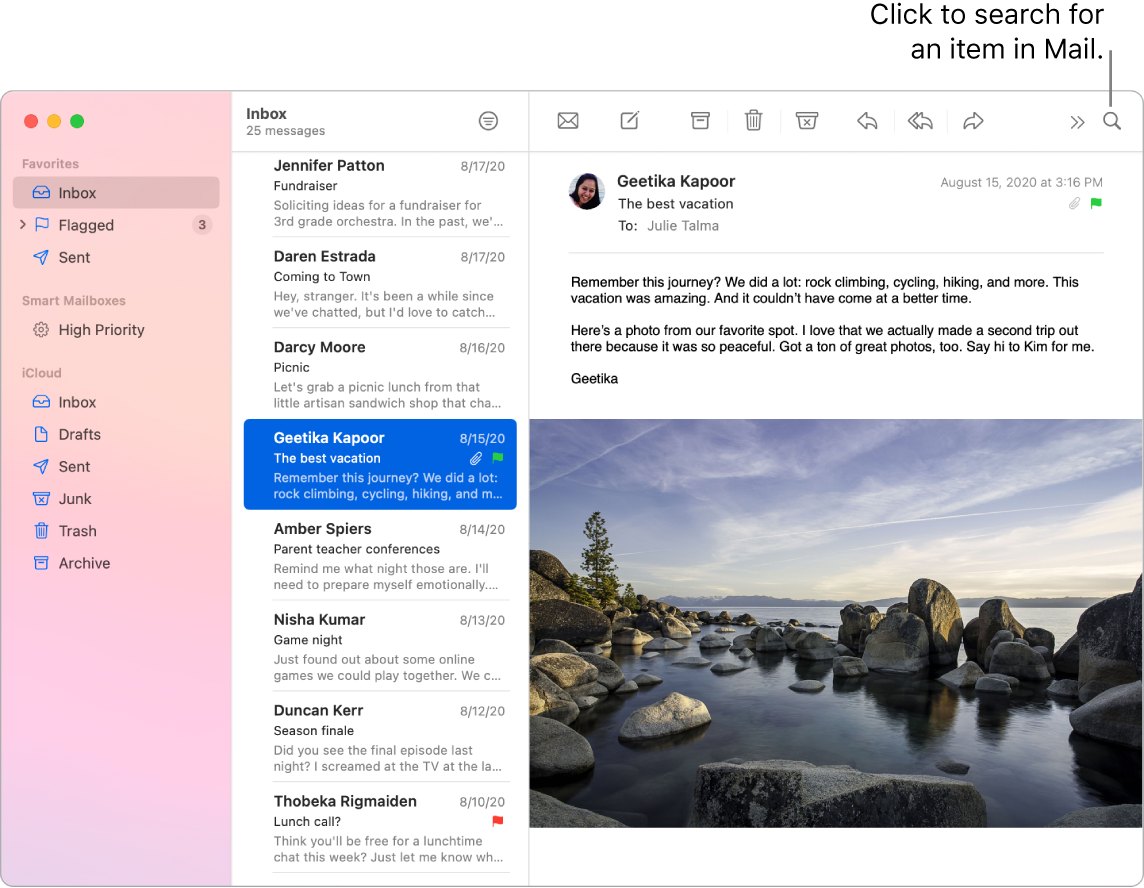 A Mail window showing the sidebar on the left with Favorites, Smart Mailboxes, and iCloud folders, the list of messages next to the sidebar, and the contents of the selected message on the right.