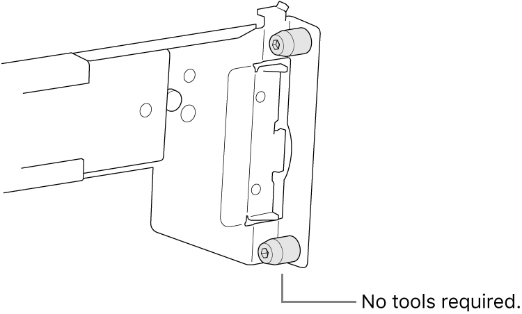A rail assembly that fits in a square hole rack.