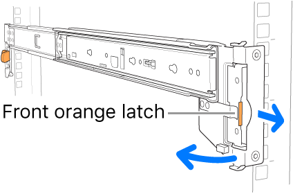A rail assembly illustrating the location of the front latch.
