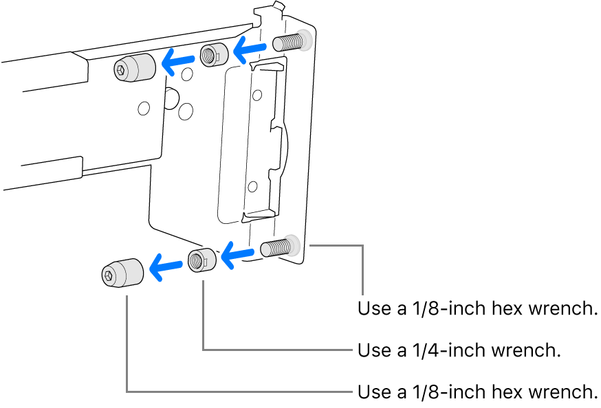 A rail assembly that fits in a threaded rack.