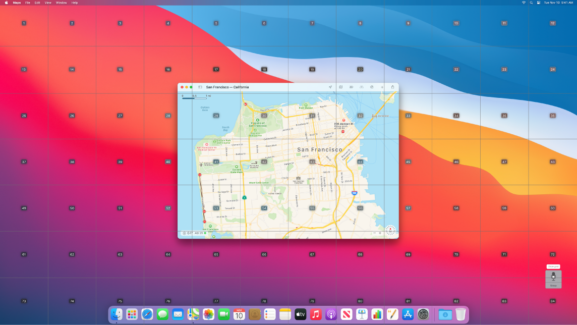 Maps opened on the Desktop with the grid overlay.