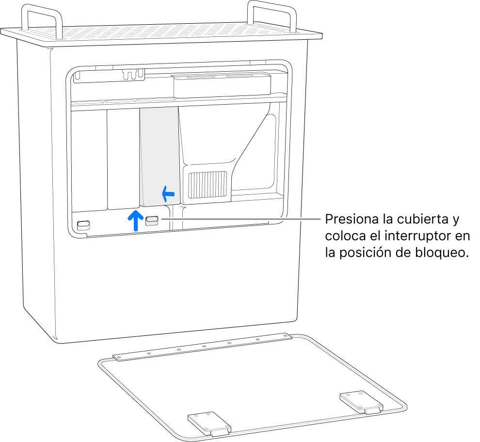 Mac Pro sobre la parte trasera; se muestra cómo mover el interruptor DIMM a la posición de bloqueo.