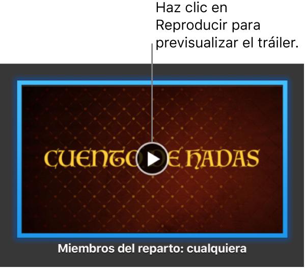 Pantalla de un tráiler de iMovie mostrando el botón Reproducir.