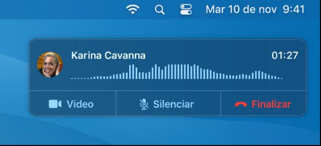 Parte de una pantalla de una Mac mostrando la ventana de notificación de llamada.