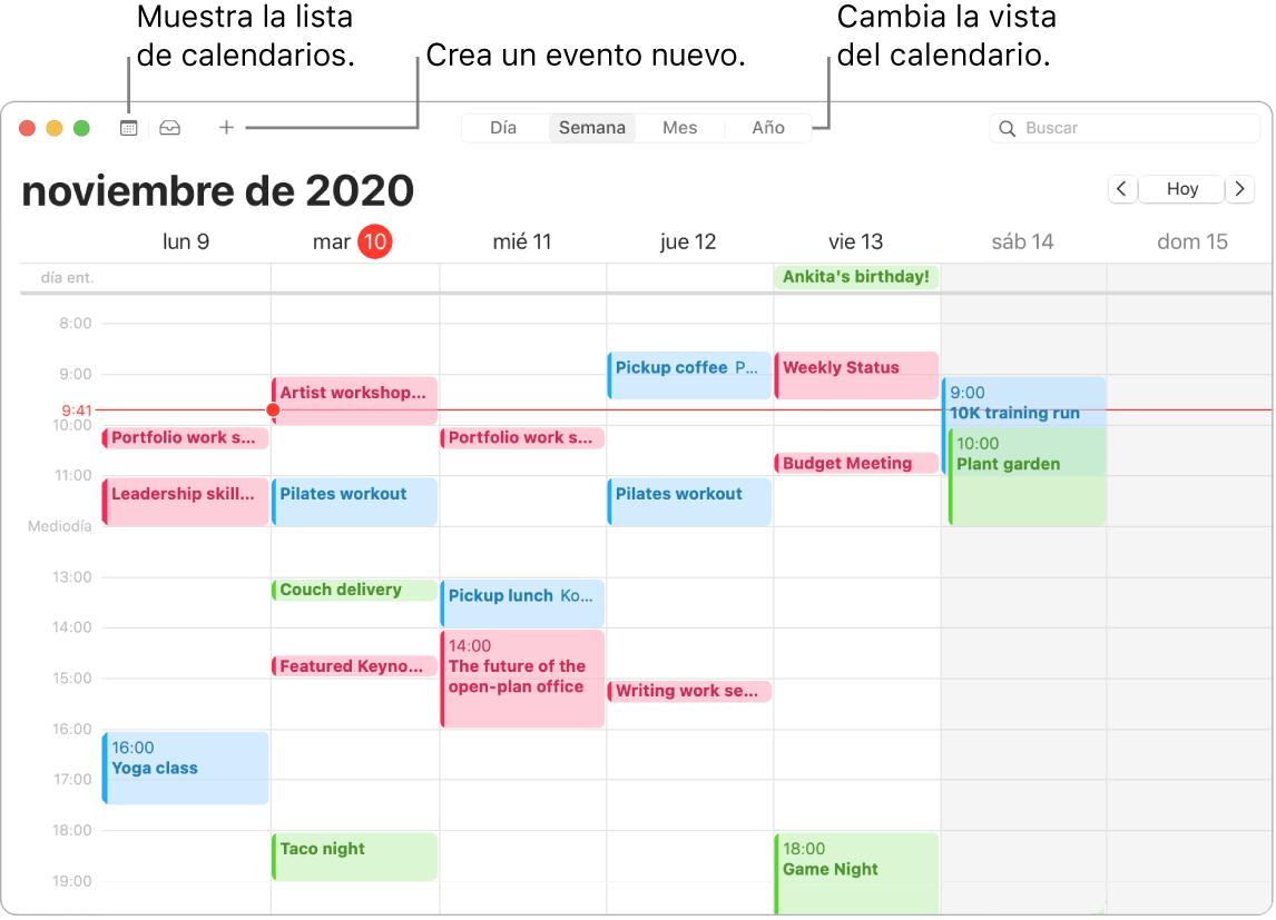 Ventana de Calendario mostrando cómo crear un evento, mostrar la lista de calendarios y seleccionar la vista por días, semanas, meses o años.