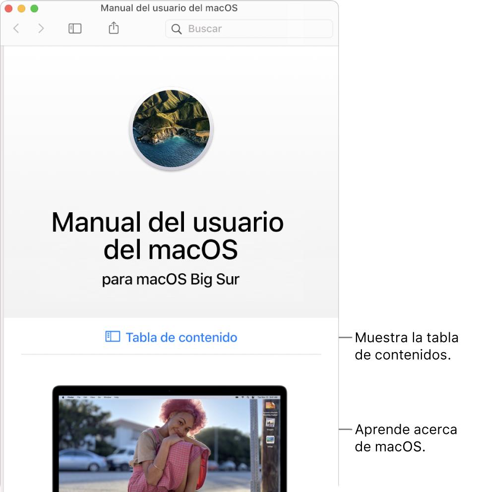 La página de bienvenida del Manual de usuario de macOS con el enlace a la tabla de contenido.