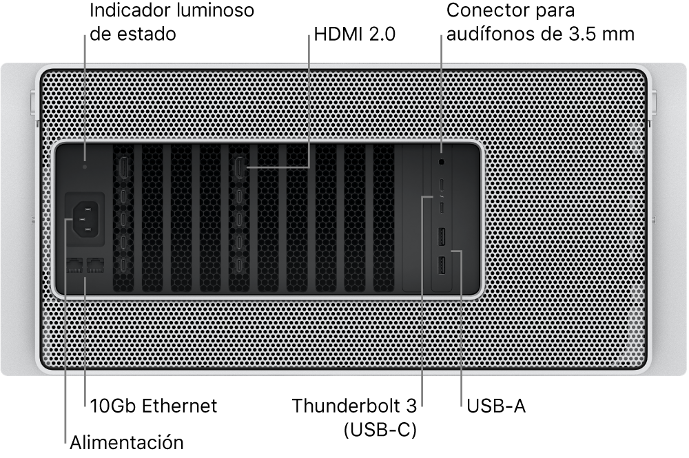 La vista trasera de la Mac Pro mostrando el puerto de corriente, un indicador luminoso de estado, dos puertos HDMI2.0, un conector para audífonos de 3.5mm, dos puertos 10 Gigabit Ethernet, dos puertos Thunderbolt3 (USB-C) y dos puertos USB-A.