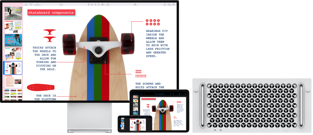 MacPro, iPad y iPhone mostrando el mismo contenido.