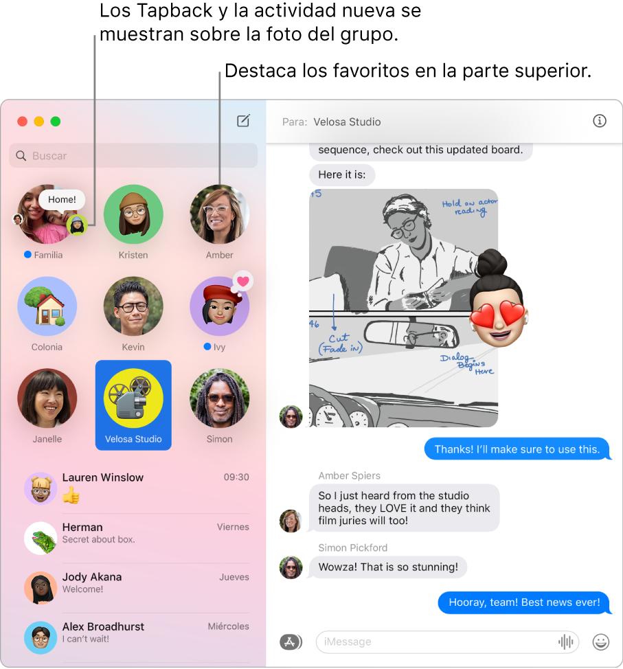 Una ventana de Mensajes con chat grupales anclados en la parte superior de la columna izquierda.