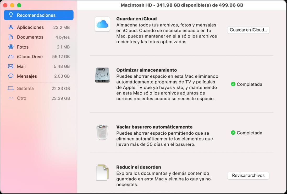 """Las preferencias de Recomendaciones del almacenamiento mostrando las opciones """"Guardar en iCloud"""", """"Optimizar almacenamiento"""", """"Vaciar Basurero automáticamente"""" y """"Reducir el desorden""""."""