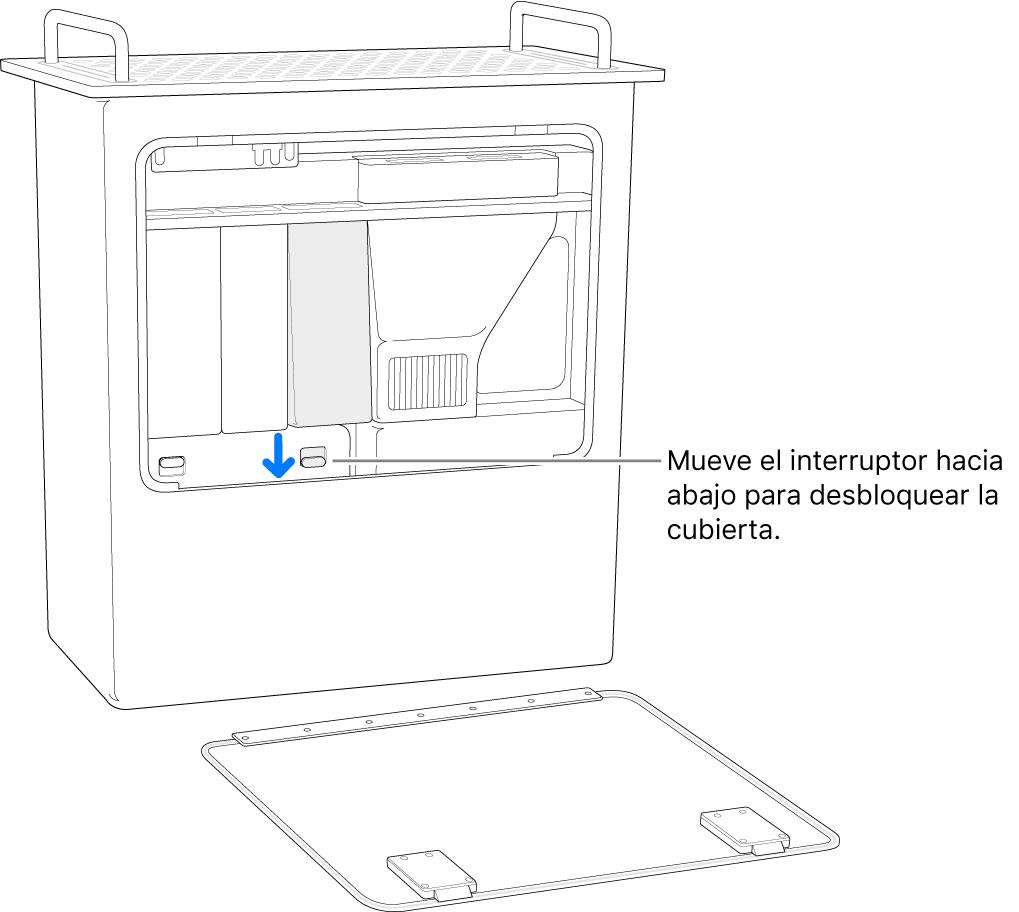 Mac Pro sobre la parte trasera, con el interruptor que desbloquea la cubierta DIMM resaltado.