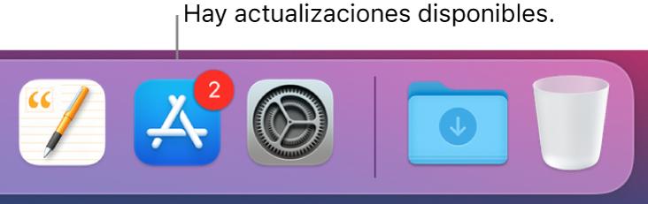 Una parte del Dock mostrando el ícono de AppStore con un indicador que muestra que hay actualizaciones disponibles.