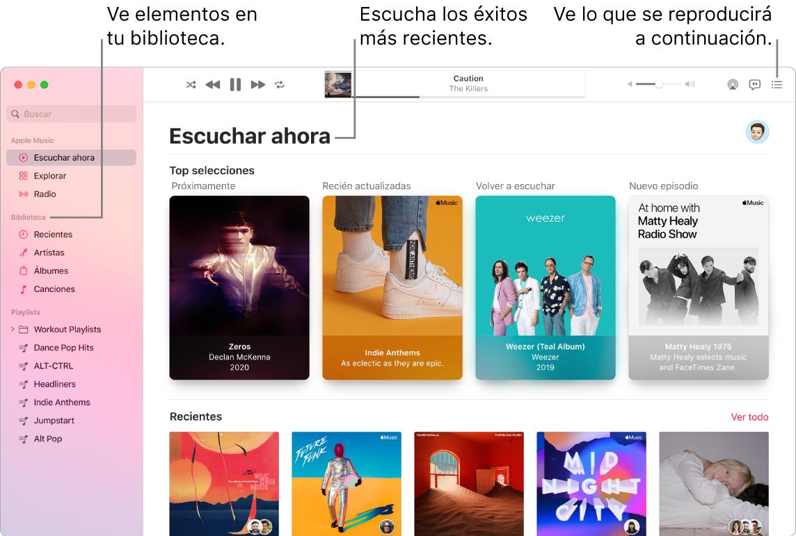 Ventana de la app Música mostrando cómo ver tu biblioteca, escuchar Apple Music y ver lo que se reproducirá después.