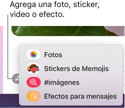 El menú Apps con opciones para mostrar fotos, stickers de Memoji, imágenes GIF y efectos para mensajes.