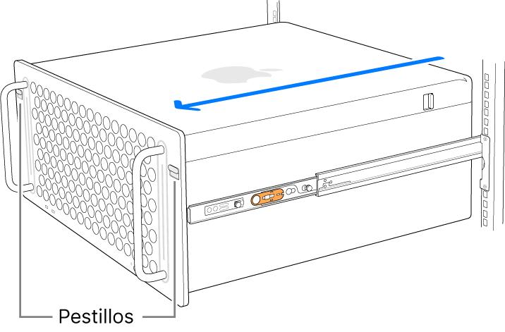 Una MacPro sobre rieles instalados en un bastidor.