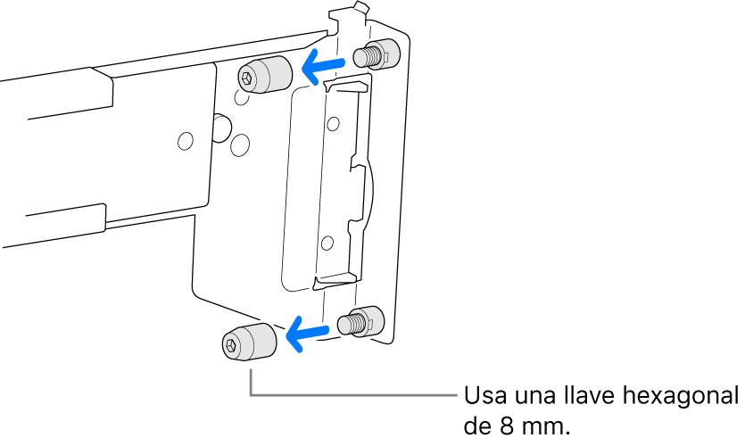 Un conjunto de rieles que se ajustan a un bastidor con agujeros redondos.