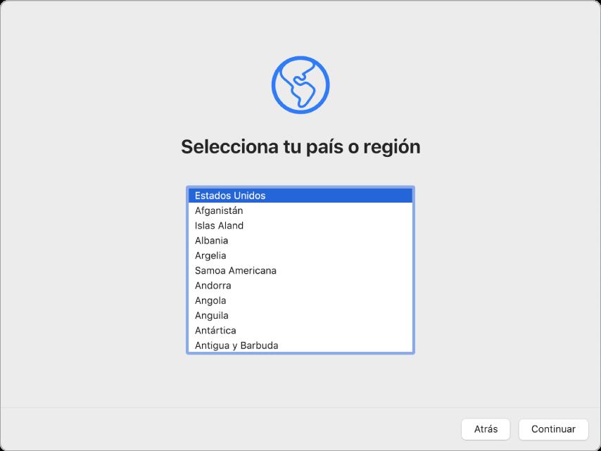 Pantalla de una Mac con Asistente de Configuración mostrando la pantalla de bienvenida.