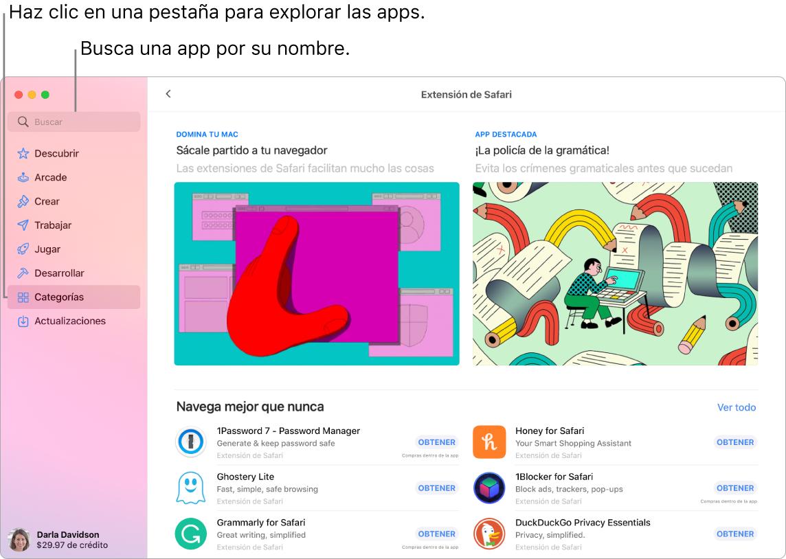 Ventana de App Store mostrando el campo de búsqueda y una página de Extensiones de Safari.