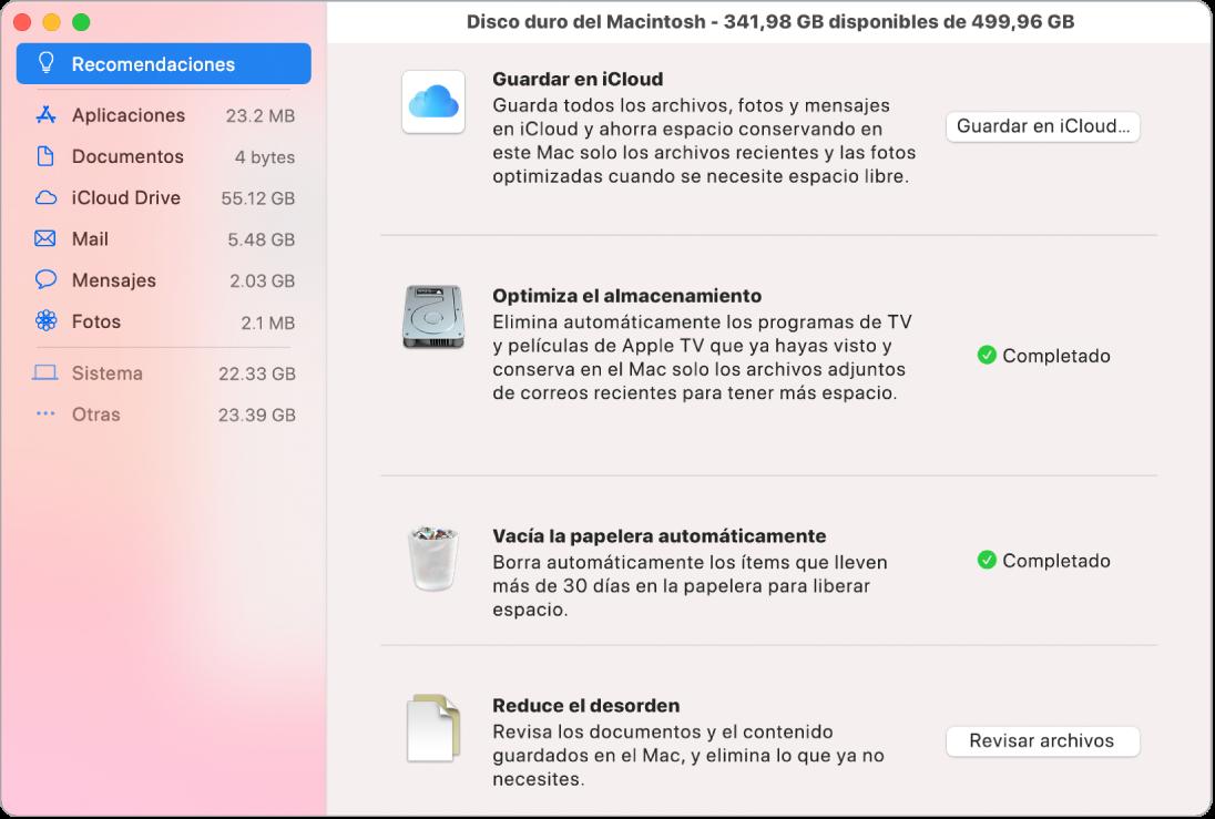 """Las preferencias del panel Recomendaciones para almacenamiento, que muestra las opciones """"Guardar en iCloud"""", """"Optimizar el almacenamiento"""", """"Borrar la papelera automáticamente"""" y """"Reducir el desorden""""."""