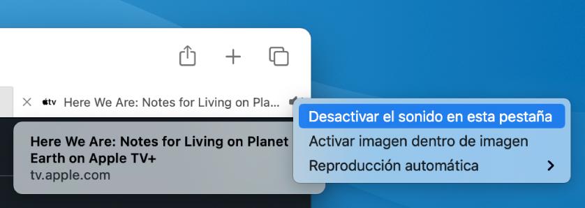 """El submenú del icono Audio, con los ítems """"Desactivar el sonido en esta pestaña"""", """"Activar imagen dentro de imagen"""" y """"Reproducción automática""""."""