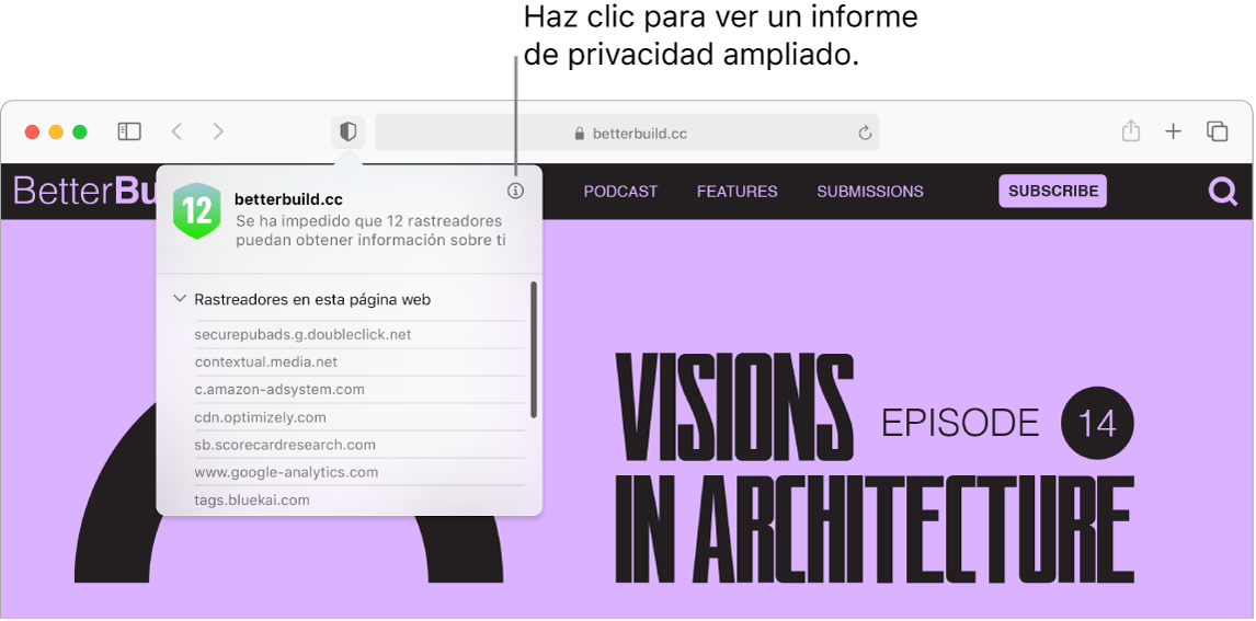 """Una ventana de Safari donde se muestran las preferencias del sitio web, por ejemplo: """"Usar el lector cuando esté disponible"""", """"Activar bloqueadores de contenido"""", """"Zoom de página"""", """"Reproducción automática"""" y Ubicación."""