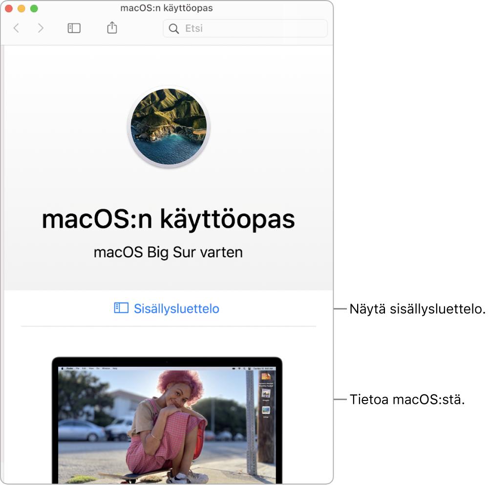 macOS:n käyttöoppaan tervetuloa-sivu, jossa näkyy Sisällysluettelo-linkki.